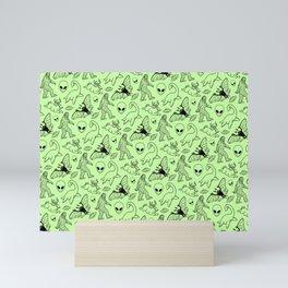Cryptid Pattern: Black on Green Mini Art Print