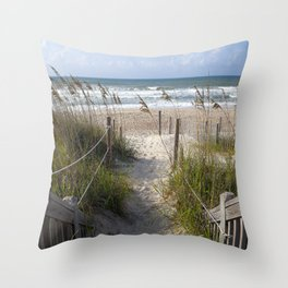 Peaceful Beach Scene Throw Pillow