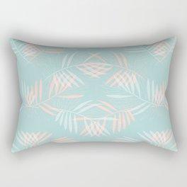 Palm Leaves Lace on Aqua Rectangular Pillow