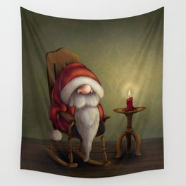 New edit: Little Santa in his rocking chair Wall Tapestry