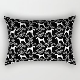 Airedale Terrier silhouette florals dog pattern pet art minimal black and white Rectangular Pillow