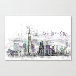 Modern Art NYC Manhattan Skyline | jazzy watercolor splashes Canvas Print