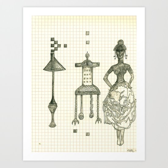 Lamp Chair Woman Art Print