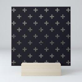 Black Grunge Swiss Cross Mini Art Print