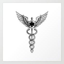 Caduceus Pilot Wings EMT Star Tattoo Art Print
