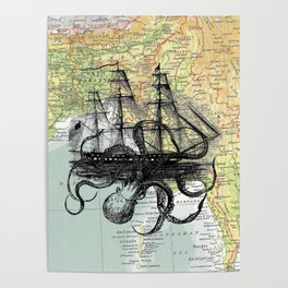 Octopus Attacks Ship on map background Poster