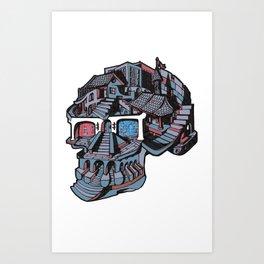 3d Glasses Skull Art Print