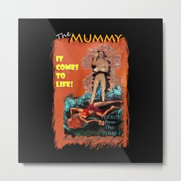 Woman in the red dress meets The Mummy Metal Print