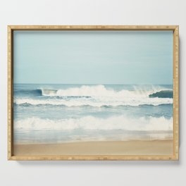 Ocean Photography, Calming Sea Photo, Blue Waves Seascape Photograph, Beach Print Serving Tray
