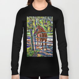 Abstract horse standing at gate Long Sleeve T-shirt
