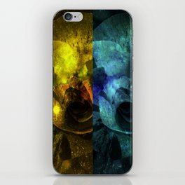 Deux Roses - Sparkling blue and yellow Rose iPhone Skin