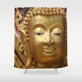 Buddha Head Illustration Design gold Shower Curtain