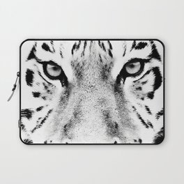White Tiger Print Laptop Sleeve