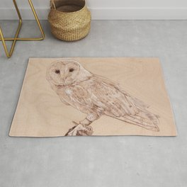 Owl Portrait - Drawing by Burning on Wood - Pyrography Art Rug