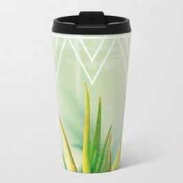 Aloe Vera Succulent with Chevron and Seafoam Background Travel Mug