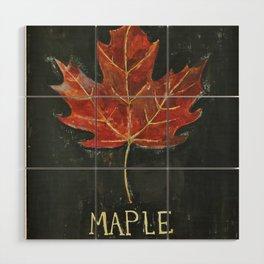 Fall Red Maple Leaf Black Background Wood Wall Art