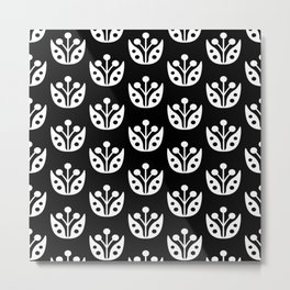Mid Century Modern Abstract Flower Pattern 821 Black and White Metal Print