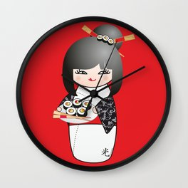 Kokeshi Sushi Wall Clock