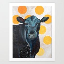 Blue Cow Yellow Dots Art Print