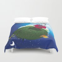 peanuts Duvet Covers featuring Green Peanuts World by SlyApparel