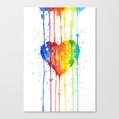 Heart Rainbow Watercolor Love Wins Colorful Splatters Canvas Print