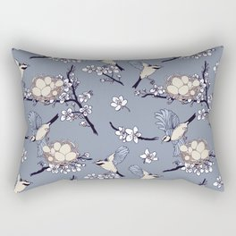 Spring birds and nests in bloom Rectangular Pillow
