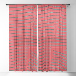 red turquoise stripes Sheer Curtain