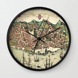 Lisbon map Wall Clock