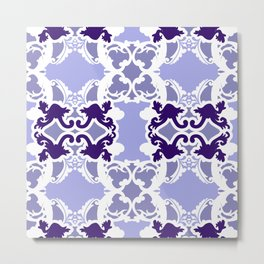 Bold darmasks with chic floral designs Purple. Metal Print