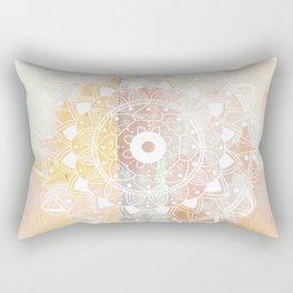 Delicate white mandala on pink Rectangular Pillow