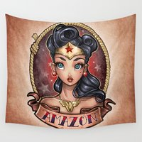 pinup Wall Tapestries featuring Amazon Pinup by Tim Shumate