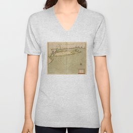 Vintage Map of Long Island NY (1702) Unisex V-Neck