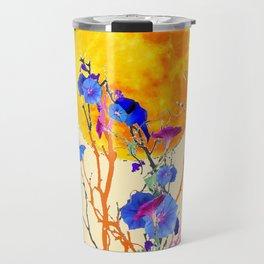 BLUE BUTTERFLIES MORNING GLORY  FULL MOON ART Travel Mug