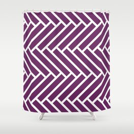 Purple and white herringbone pattern Shower Curtain