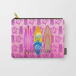 Pink Born To Surf Pink Tiki Carry-All Pouch