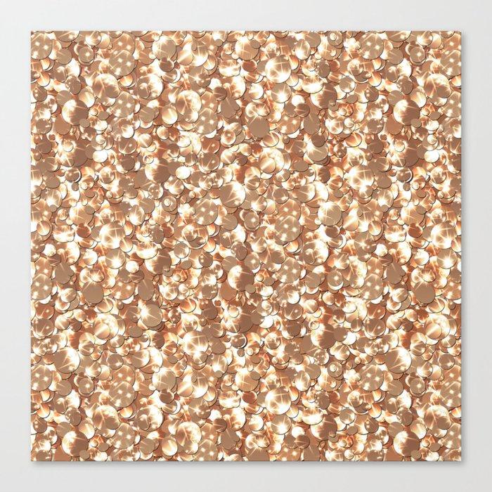 Golden confetti glitter sparkl Canvas Print