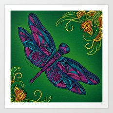 Dragonfly. Fly with me through the wind. Art Print