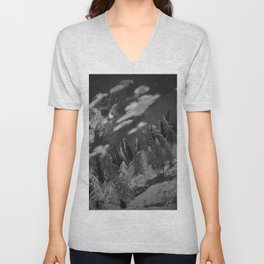 Winter mountain cabin Unisex V-Neck
