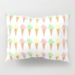 Vanilla, Mint, and Strawberry Ice Cream Cone Pattern Pillow Sham