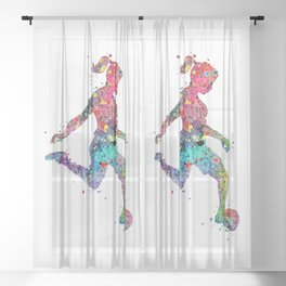 Girl Soccer Player Watercolor Print Sports Print Soccer Player Poster Sheer Curtain