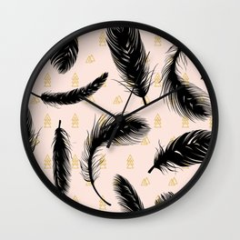 Black feathers Wall Clock
