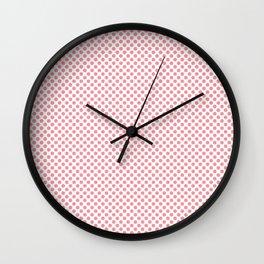 Flamingo Pink Polka Dots Wall Clock