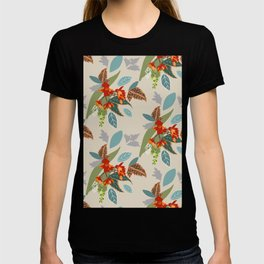Bright Flowers with Turquoise and Green Leaves, Pattern Design, Tropical and Colourful T-shirt
