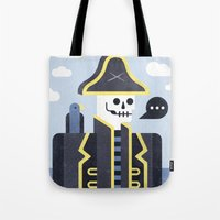 men Tote Bags featuring Dead Men Tell No Tales by Chase Kunz