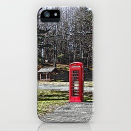 A Red Phone Booth in the Middle of  Nowhere iPhone Case