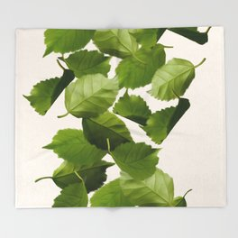 Green Leaves Falling Throw Blanket