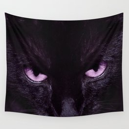 Black Cat in Amethyst - My Familiar Wall Tapestry