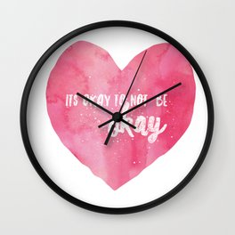 Its Okay to Not be Okay Watercolor Quote on a Pink Heart Wall Clock
