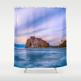 Shaman Rock, lake Baikal Shower Curtain