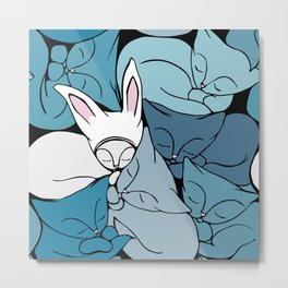 Teal Curled Up Bunny Cats Metal Print